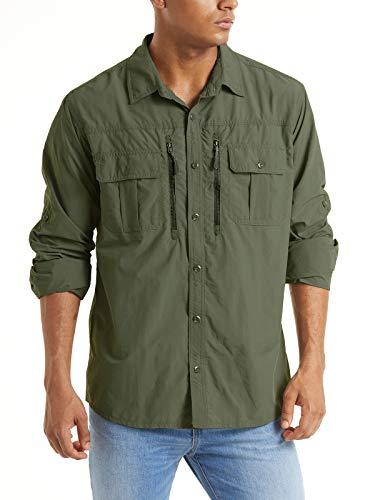 TACVASEN Men's Tactical Shirts Quick Dry Breathable Long Sleeve Hiking Shirts, 2XL Green