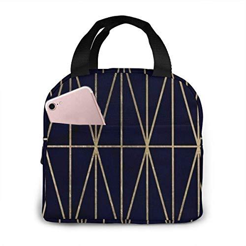 Bolsa de almuerzo con aislamiento de acuarela azul marino con patrón de triángulos geométricos dorados modernos, bolsa de asas para almuerzo de gran capacidad para O
