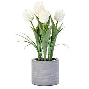 Silk Flower Arrangements Jusdreen Artificial Potted Tulips Flowers with Cement Vase Vivid Tulip Flowers Arrangement for Home Office Décor House Decorations(5 White Tulips)