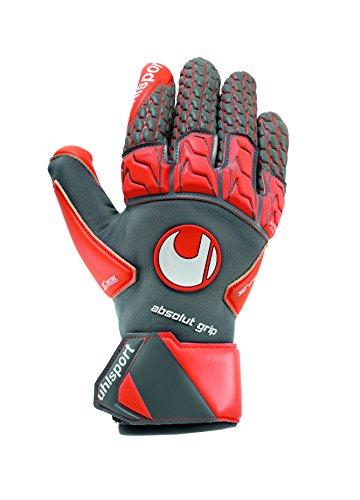 uhlsport Torwarthandschuhe AERORED-Absolutgrip Reflex-In den Größen 7-11 Innenhand Keeper-Handschuhe entwickelt mit Profis-Optimaler Halt und Grip, langlebig, Dark grau/Fluo rot/Weiß, 10