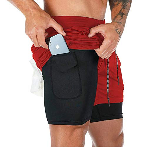 Surenow Mens Running Shorts,Workout Running Shorts for Men,2-in-1 Stealth Shorts,7-Inch Gym Yoga Outdoor Sports Shorts Red