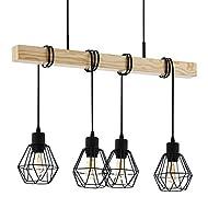 EGLO Townshend 5 Pendant Lamp, 4-Flame Vintage Pendant Light with An industrial Design, Retro Hangin...