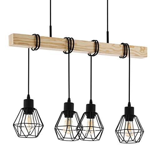 Lampada a sospensione EGLO TOWNSHEND 5, plafoniera vintage a 4 punti, lampada a sospensione dal design industriale, lampada a sospensione retrò in acciaio e legno, colore: nero, marrone, attacco: E27