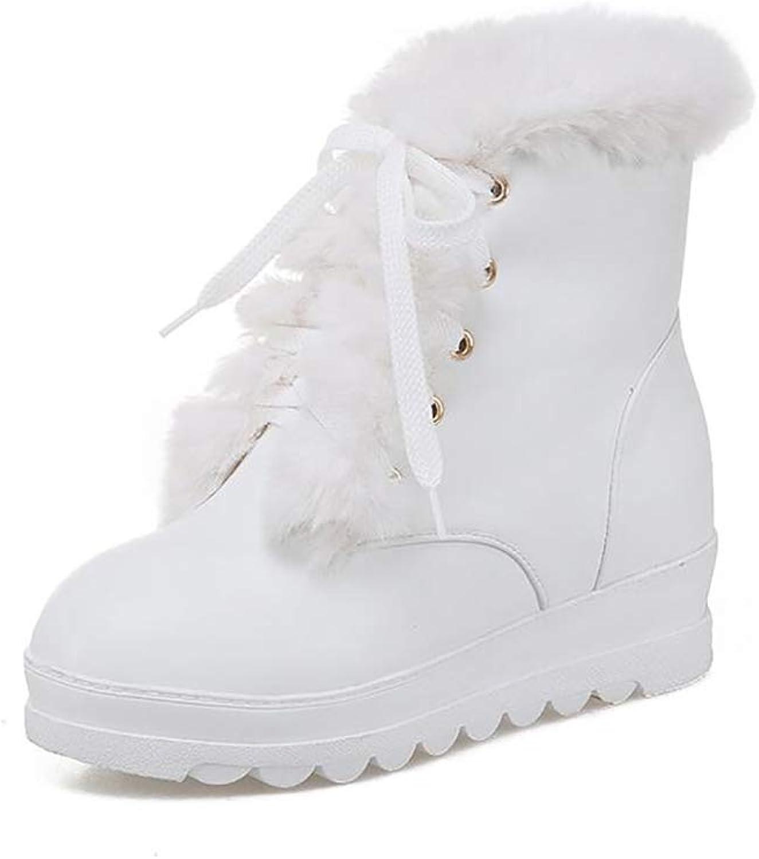 Hy Damenschuhe Winter dicken Boden warme Schneeschuhe Stiefel Stiefel Stiefel Damen erhöhen Kreuz Lace-up Lässige Stiefelies Stiefeletten Student Slip-Ons Outdoor-Ski-Schuhe (Farbe   B, Größe   36)  1b44cb