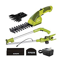 commercial Sanjo HJ605CC Cordless 2-in-1 Glass Cutter + Hedge Trimmer with Extension Rod, Green electric grass shears