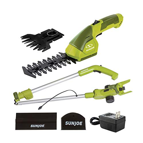 Sun Joe HJ605CC Cordless 2-in-1 Grass Shear + Hedge Trimmer w/Extension Pole, Green