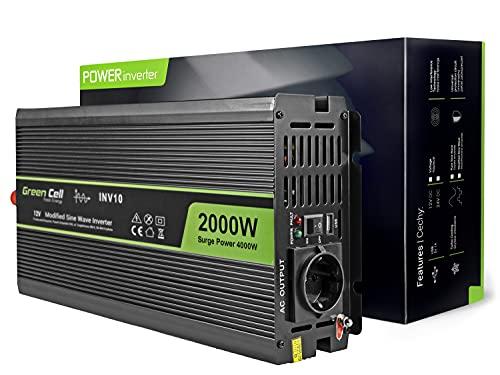 Green Cell® 2000W/4000W 12V auf 230V Volt kfz Spannungswandler Wechselrichter Power Solar Inverter DC AC Umwandler Stromwandler Fahrzeuge Wohnwagen Auto Modifizierte Sinus Sine Wave Autoladegerät