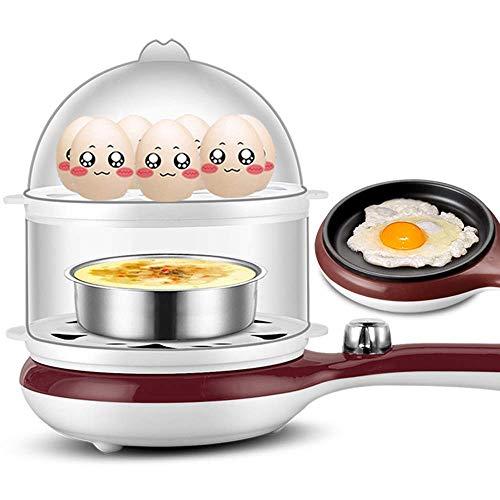 Eierkocher Doppelschichtige kleine Pfanne Omelett Kleiner Dampfgarer Frühstücksmaschine Antihaft-Elektroherd für gekochte Eier Pochierte Eier B.