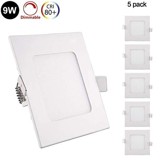 5er Greenclick 9W LED Panel Weiß Eckig Deckenleuchte Dimmbar Einbaustrahler, extrem flach, 230V 720Lumen ersetzt 60W Leuchtstoffröhren (4000k, 9w Eckig Panel)