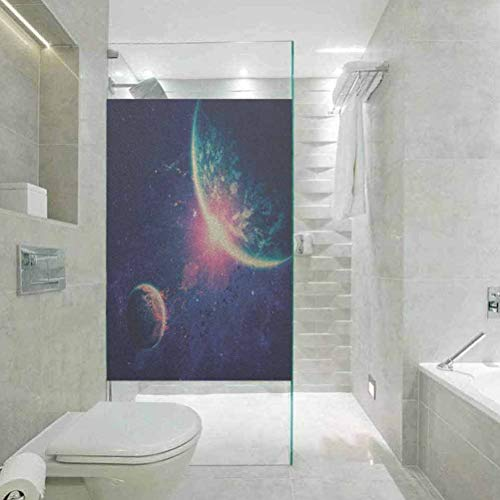 Self Adhesive Film Static Cling Window Sticker for Bathroom, Galaxy Outer Space Theme Planet Earth Mars in Space Dis, Static Cling Decor Window Sticker for Home and Offic, W23.6xH35.4 Inch