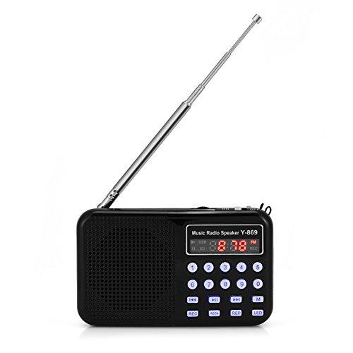 Zerone Mini Digital AM FM Pocket Radio Portable Lautsprecher Unterstützung FM Radio TF Karte USB Disk mit LED-Display & Notfall Taschenlampe Funktion