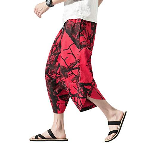 JEELINBORE Pantaloncini di Lino Estivo da Uomo Boho Hippie Capri Baggy Pantaloni Harem con Stampa Koi (Stampa Rosso, CN XL)