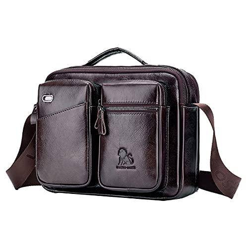 NIYUTA Bolso de hombro para hombre, gran capacidad, bolso de hombro, bolso de mensajero, bolso de mano, marrón oscuro (Marrón) - CZL-EU125203