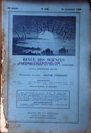 NATURE (LA) [No 1225] du 21/11/1896 - LES AMPOULES - LES INDIENS MOKI - MARSILLON - LE CHRONOPHOTOGRAPHE DE M. DEMENY - MARESCHAL - LES LEONIDES - H. DE PARVILLE - FLEURS EN PAPIER - TELEGRAPHIE SOUS-MARINE - DE VILLEDEUIL.