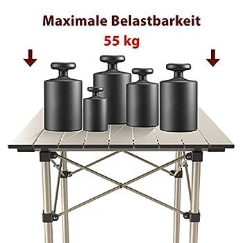 Qisiewell Table Pliante en Aluminium Table de Camping Table Multifonction Camping Randonnée Voyage Pique-Nique Autres activités intérieures-extérieures (52 x 52 x 49 cm)