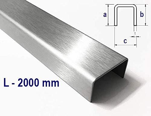 U-Profil aus Edelstahl K320 gekantet bis Breite c= 30 mm und Länge 2000 mm 20 x 20 x 20 mm
