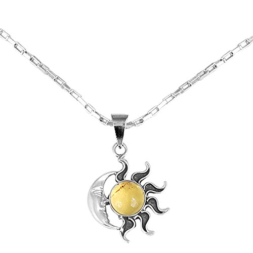 """NOVICA Natural Amber .925 Sterling Silver Sun and Moon Pendant Necklace, 18"""" 'Honey Eclipse'"""
