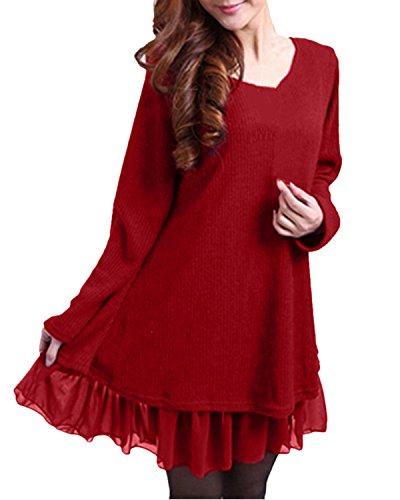 ZANZEA Pullover Damen Langarm Stricken Strickkleid Pulloverkleid Rundhals Longpullover Stricken Kleid Kurz Lässig Rot-F399848 EU 36