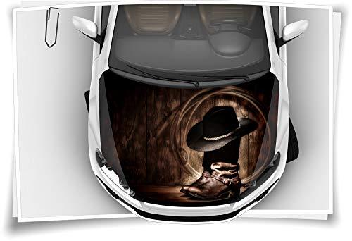 Medianlux Cowboy Stiefel Western Hut Motorhaube Auto-Aufkleber Steinschlag-Schutz-Folie Airbrush Tuning Car-Wrapping Luftkanalfolie Digitaldruck Folierung