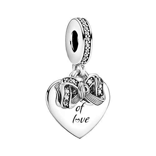 Pandora Bow & Love Heart Charm Pendant Sterling Silver 3.8 x 13.6 x 14.6 mm (D/H/W)