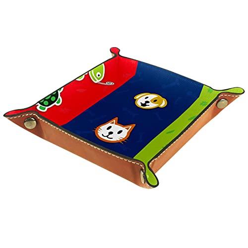Yitian Bandeja de cuero PU joyería de cuero Catchall Pet para cambio joyería teléfono clave relojes dados elegancia suave cuero reciclable