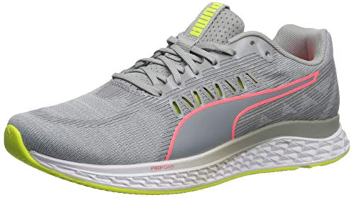 PUMA Women's Speed SUTAMINA Sneaker, Quarry-Yellow Alert-Pink Alert, 7.5 M US