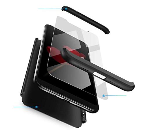 COCOMC Kompatibel mit Hülle Samsung Galaxy S21Plus Handyhüllen +Panzerglas Schutzfolie Schlanke Hart-PC-Schutzhülle Stoßfeste Anti-Fingerabdruck Cover:Schwarz