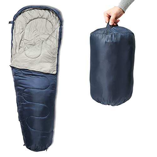SUNMER 4-Jahreszeiten-Schlafsack für Mütter, extra warm, für Camping, 400 g/m², Mummy 400Gsm- Navy