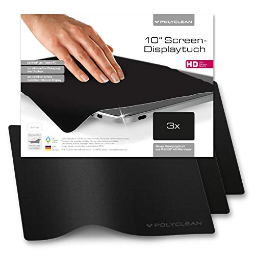 POLYCLEAN 3x Displaytuch – 10 Zoll Microfasertuch für Bildschirm, Laptop und Tastatur – Reinigungstuch zum Schutz von Notebook und Tablet (23x17 cm)