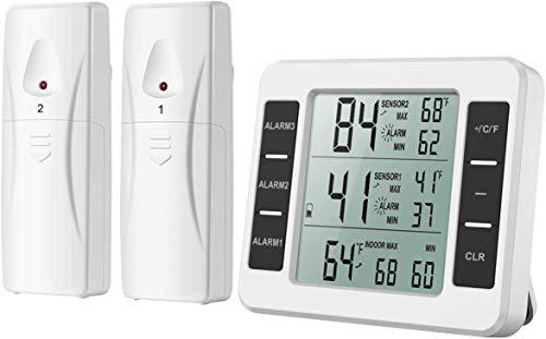 AMIR デジタル温度計 電池式 冷蔵庫温度計 大画面 2つの送信機付き 3つのアラームタイム設置可能 最高最低...