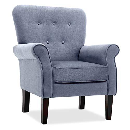 Accent - Poltrona imbottita per la casa, con schienale imbottito, per soggiorno, camera da letto, ufficio, grigio