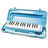 鍵盤ハーモニカ (スカイブルー) 32鍵 メロディー ピアノ 多功能 立奏唄口 卓奏唄口 軽量 楽譜シール付き