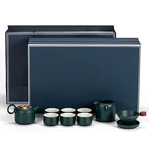 SCHSP Juego de Tetera de Porcelana Juego de Tetera de Té Chino Tradicional Hecho Juego de Té Chino Kung Fu, Juego de Té De Cerámico Chino1 Tetera y 6 Tazas de Té 1 Taza Justa (Color : Dark Green)