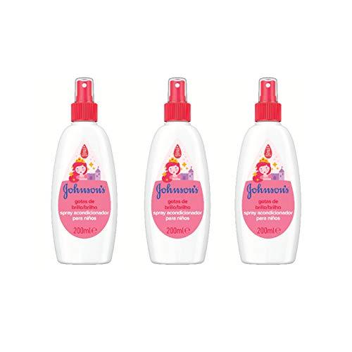 Johnson's Gotas de Brillo Acondicionador en Spray para niños, cabellos más brillantes, suaves y sedosos - 3 x 200 ml