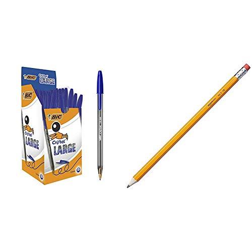 Bic Cristal Large Punta Larga 1,6 mm Confezione 50 Penne Colore Blu & Amazon Basics Matite pre-temperate in legno #2 HB, Confezione da 30 pezzi