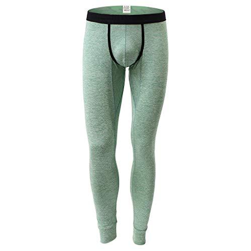 Yowablo Leggings Herren Herbst Winter Bequeme Thermo Warm Passende Unterhose Hose (XL,1Grün)