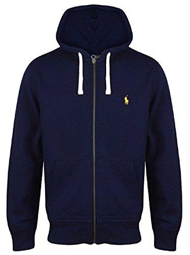 Ralph Lauren - Felpa da uomo in pile con cappuccio, vari colori, S - XXL Navy (Yellow Logo) 2XL
