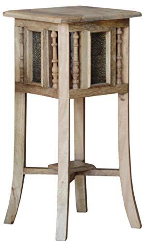 Guru-Shop Mesa Auxiliar Oriental con Decoración de Latón - Tamaño L 60cm, Multicolor, Maderademango, 60x28x28 cm, Mesas de Centro Mesas de Suelo