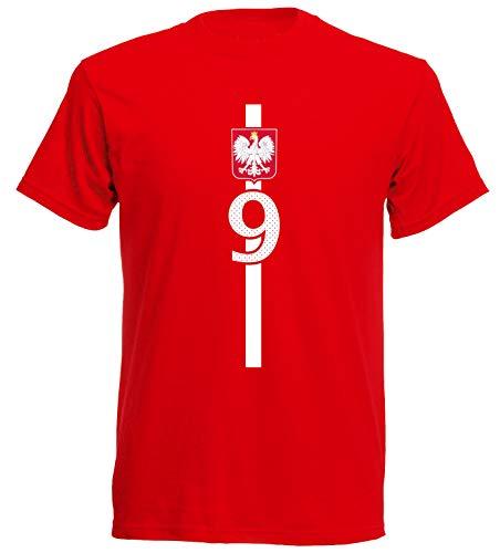 aprom Polen Kinder T-Shirt Trikot Polska Kids No.9 WM EM Fussball Sport St-1 Fan Supporter, Rot, 116