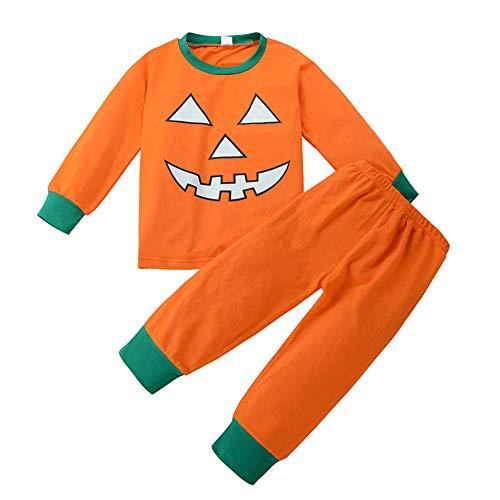 Riou Kinder Langarm Halloween Kostüm Top Set Baby Kleidung Set Kleinkind Baby Jungen Mädchen Kürbis Teufel t-Shirt Tops + Hosen Halloween Outfits Set (110, Orange)