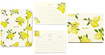 Kate Spade New York Bright Yellow Recipe Book with Labeled Sections Recipe Box with Tab Dividers and 80 Double Sided Recipe Cards Lemon