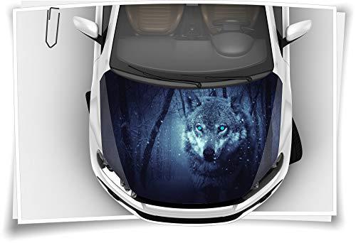 Medianlux Motorhaube Auto-Aufkleber Wolf Wildnis Schnee Nacht Augen Steinschlag-Schutz-Folie Airbrush Tuning Car-Wrapping Luftkanalfolie Digitaldruck Folierung