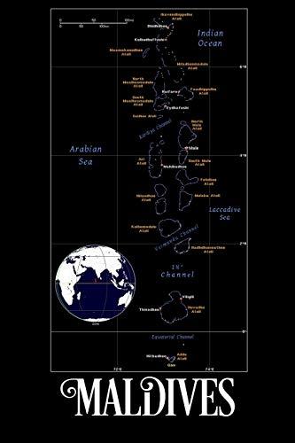 Maldives: Map of Maldives Notebook