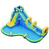 GOPLUS Château Gonflable en Tissu d'Oxford avec Toboggan et Pistolet à Eau,Aire de Jeux Aquatique avec Divertissements Multiples, Idéal pour Enfants Plus de 3 Ans (Bleu)
