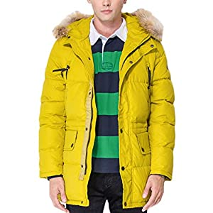 Michealboy Men Winter Zip Hooded Warm Padded Puffer Down Coats Jackets Yellow