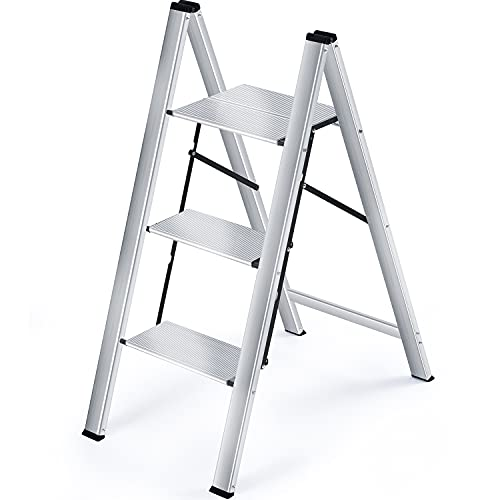TOOLF Step Ladder, 3 Step Aluminium Folding Ladder, Portable Slim Step Stool, Safety Household Ladder Stepladder