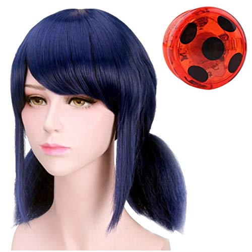 Hook Enfant Fille Perruque Ladybug Deguisement Perruque Synthétique Bleu Foncé, pour Cosplay Manga ou Costume d'halloween pour Enfants Carnaval, + Ladybug Yo-Yo and Lady Bug Earrings