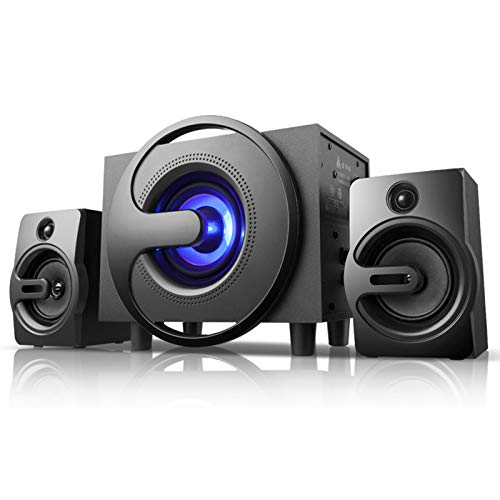 LIQIANG Computer Audio, Wooden Cabinet Speakers, 360° Surround Sound, Independent High and Low Bass Adjustment, Home Theater Speakers