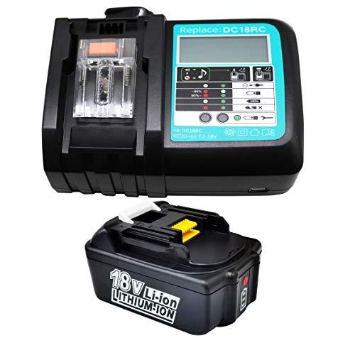 Reemplazo de batería y cargador de 18V 4.0Ah para Makita Baustellenradio BMR100 BMR102 DMR100 DMR110 DMR101 DMR103B BMR104 BMR103 DMR104 DMR105 DMR102 DMR109 DMR108 DMR107 Radio de 18 voltios