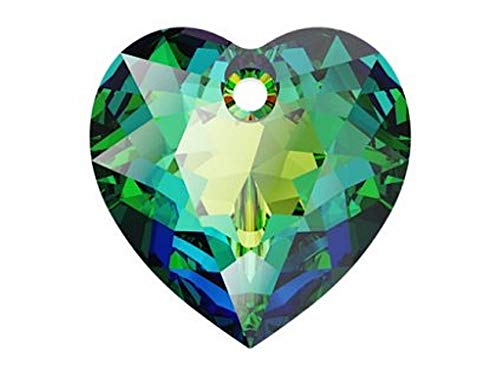 Bijoux Components Swarovski Element, Heart Cut Beads 6432, 10.5 mm, 1 ud, Cuentas-Colgantes facetadas de Vidrio en la Forma de Corazon, Crystal/Vitrail Medium/Foiled (Transparent Iridescent Rainbow)